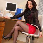 Secretary Hailey G exposing her bright lingerie